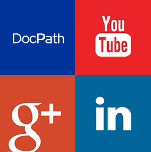 DocPath en las redes sociales Google+, LinkedIn y YouTube